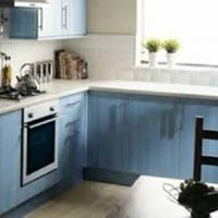 blue coloured stained cabinets