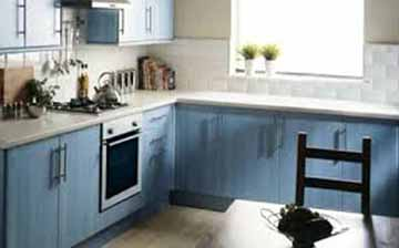 modern looking blue cabinets