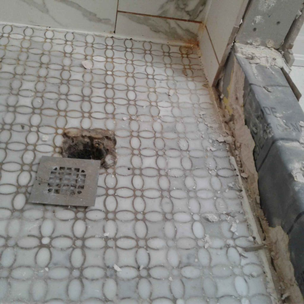 shower floor drain reveals damage